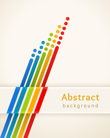 Colored stripes with circles. Retro background. Design template. Abstract lines directed upwards. Concept of leadership, competition, success and etc