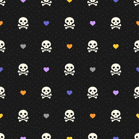 Halloween seamless pattern with color hearts and skulls. Retro style. Polka dot textured background