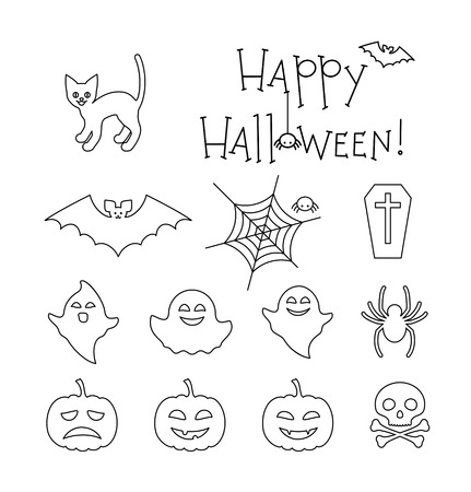 wraith: Halloween linear flat icons set. Cat, ghosts, skull, bat, spiders, coffin, spider net and smiling pumpkins. Happy Halloween text. collection for your design Illustration