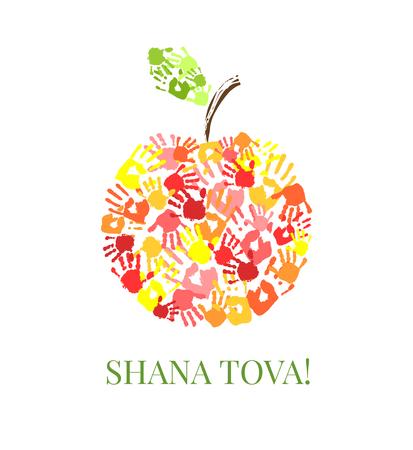 rosh hashanah: Apple made from hands. Creative greeting card design for Jewish New Year, Rosh Hashanah. illustration