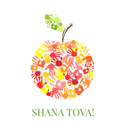 Apple made from hands. Creative greeting card design for Jewish New Year, Rosh Hashanah. illustration