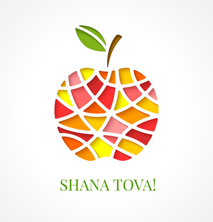 Design template with cut out multicolor apple. Greeting card design for Jewish New Year, Rosh Hashanah. illustration
