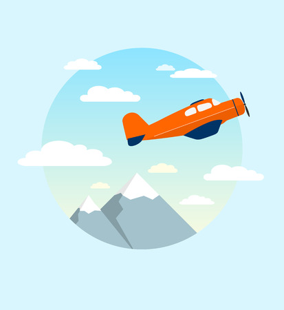 jetliner: Airplane is flying in the cloudy sky over mountains. Vector illustration.Modern flat concept design. Illustration