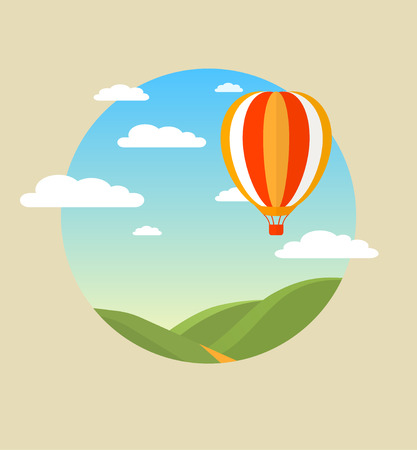 Hot air balloon in the sky with clouds over green hills. Vector illustration. Modern flat concept design.