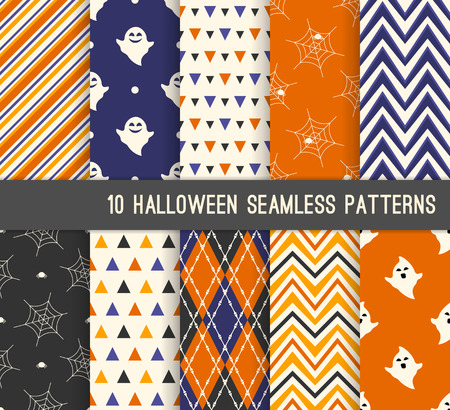 Ten Halloween different seamless patterns. Endless texture for wallpaper, web page background, wrapping paper and etc. Ghost, bones and spider web Illustration
