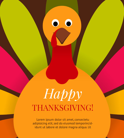 Cute colorful cartoon turkey bird background. Happy Thanksgiving background  with place for your text. Vector flat illustration. Can be use as invitation, greeting card, flyer, poster or banner. Stock Illustratie