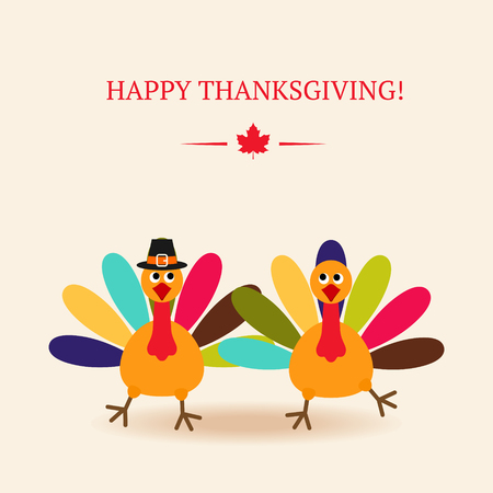 Cute colorful cartoon of two dancer turkey bird for Happy Thanksgiving celebration. Vector flat illustration. Can be use as greetings card, flyer, poster or banner.