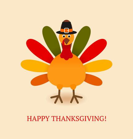 Śliczny kolorowy kreskówka indyka ptak dla Szczęśliwego świętowania dziękczynienia. Płaskie ilustracji wektorowych. Może być użyty jako kartka z życzeniami, ulotką, plakatem lub banerem. Ilustracje wektorowe