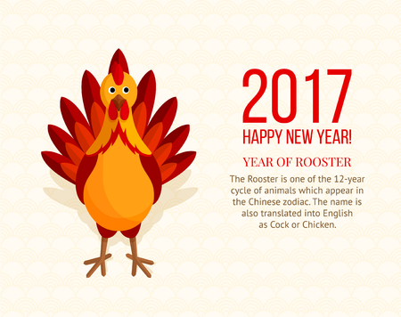 new year poster: Colorful rooster on ornamental background. Red cock is symbol of 2017 year on the Chinese calendar. Element for New Years design. Flat style. Can used as greeting card.