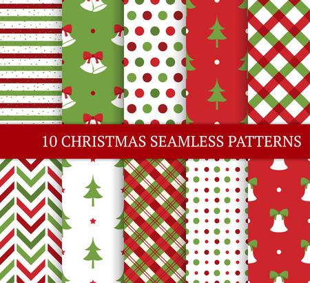 Dieci di Natale diversi modelli senza soluzione. Xmas trama senza fine per carta da parati, sfondo della pagina web, carta da imballaggio, ecc stile retrò. Bells, alberi di Natale, pois e rombi.