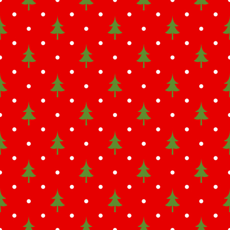 retro christmas: Retro Christmas seamless polka dot pattern. Green fir tree over red background Illustration