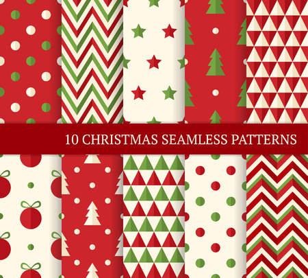 tree texture: Ten Christmas different seamless patterns. Endless texture for wallpaper, web page background, wrapping paper and etc. Flat style. Polka dot, zigzag, Christmas tree and ball.