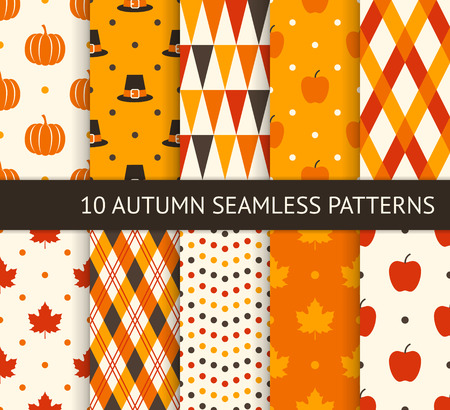 Ten retro different seamless patterns. Autumn and thanksgiving theme. Pumpkin, apple, maple leaf and pilgrim hat. Endless texture for wallpaper, web page background, wrapping paper and etc.