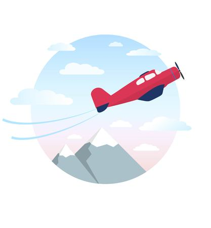 Red airplane is flying in the cloudy sky over mountains. Vector illustration.Modern flat concept design.