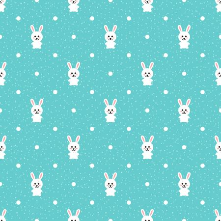 animal ear: Seamless pattern with cute easter bunny and polka dots. Happy Easter endless background. Retro style vector illustration Illustration
