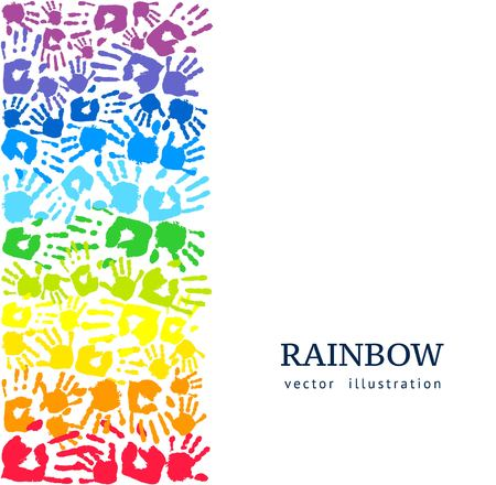 Border made of colored hands. Rainbow background. Abstract vector illustration