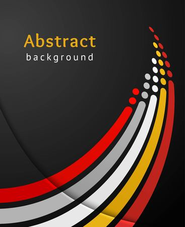attainment: Colored stripes with circles over black background. Retro vector backdrop. Design template. Abstract lines directed upwards.