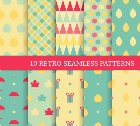 Ten autumn different seamless patterns. Endless texture for wallpaper, web page background, wrapping paper and etc. Retro style. Ilustracja
