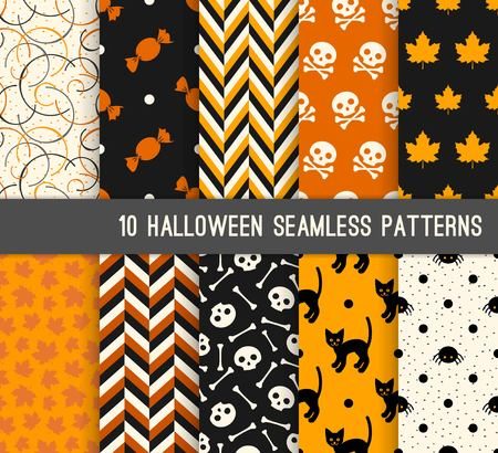 Ten Halloween different seamless patterns. Endless texture for wallpaper, web page background, wrapping paper and etc. Skulls, bones, cat and maple leaves