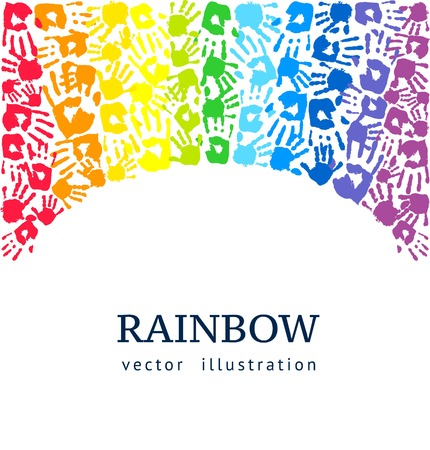 Rainbow background made of colored hands. Abstract vector illustration