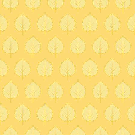 様式化された葉を持つベクターのシームレスなパターン。黄色の無限の背景