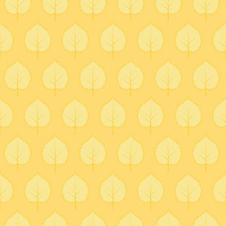 Vector seamless pattern with stylized leaves. Yellow endless background Illustration