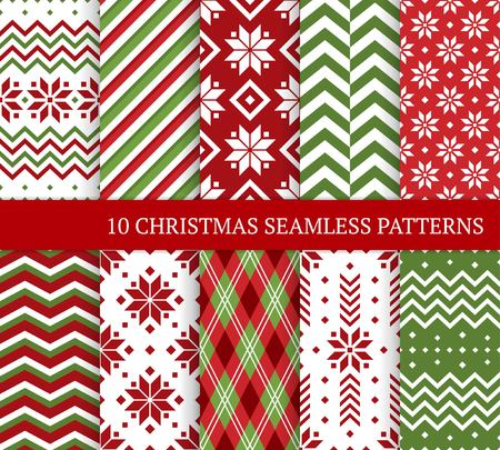 Ten Christmas different seamless patterns. Xmas endless texture for wallpaper, web page background, wrapping paper and etc. Retro style. Snowflakes, zigzag, color lines and Nordic motifs