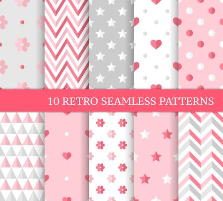 Ten love seamless patterns, romantic pink backgrounds for Valentine's, Mother's or wedding day. Different endless texture for wallpaper, web page, wrapping paper and etc retro style.