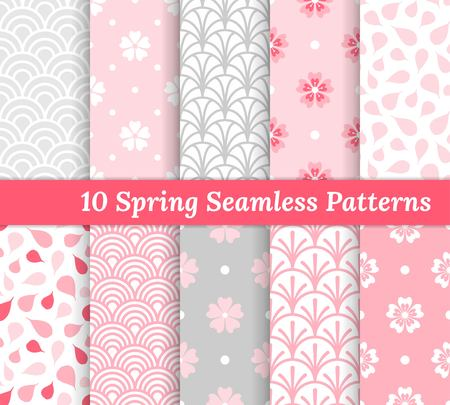 Ten spring seamless patterns. Pink and gray romantic backgrounds. Endless texture for wallpaper, web page, wrapping paper and etc. Retro style. Flowers, waves and petals. Ilustracja