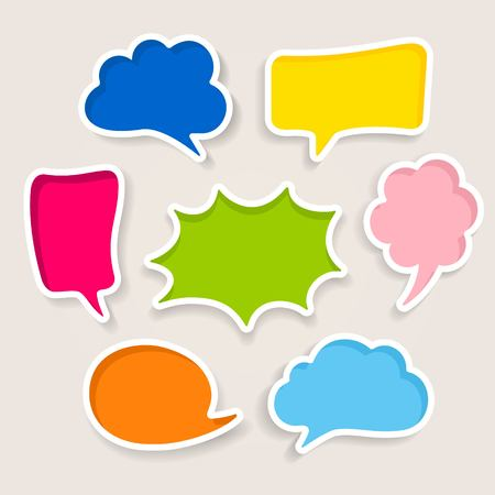 Set of colorful speech bubbles