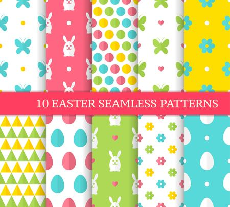 Ten different Easter seamless patterns. Endless texture for wallpaper, fill, web page background, texture. Colorful cute background with bunny, eggs, butterflies and flowers. Flat style