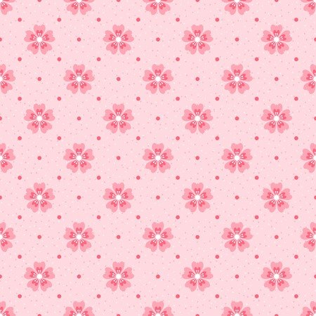 Seamless polka dot pattern. Pink cherry blossom on light textured background. Retro style Stock Photo