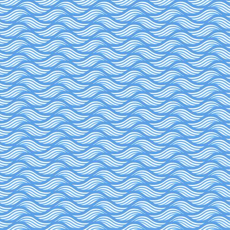 Blue seamless wave linear pattern vector illustration for nautical design.