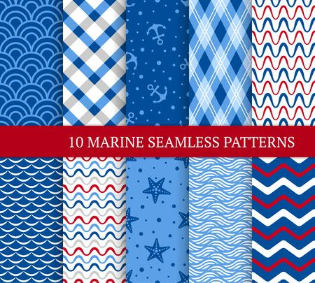 Ten marine different seamless patterns vector illustration for nautical design. Endless texture can be used for fills, web page background, surface. Set of sea backdrop with waves, stars, anchors. Standard-Bild - 98889547
