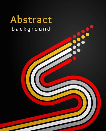 Colored stripes with circles over black background, retro vector backdrop. Design template abstract sinuous lines directed upwards.
