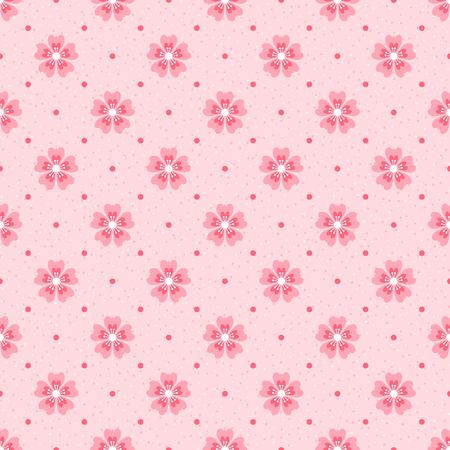 Polka dot seamless pattern. Pink cherry blossom on light textured background retro style.