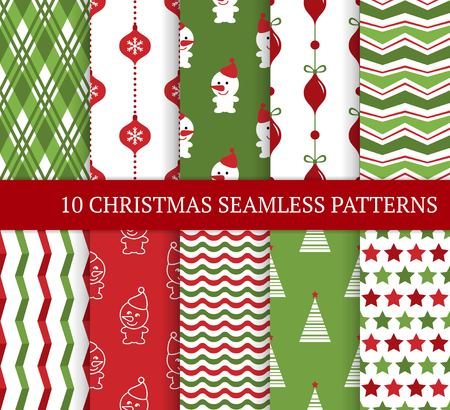 Ten Xmas different seamless patterns. Xmas endless texture for wallpaper, web page background, wrapping paper and etc. Retro style. Waves, zigzag, Christmas balls and smiling snowman.