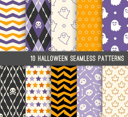 Ten Halloween different seamless patterns. Endless texture for wallpaper, web page background, wrapping paper and etc. Skulls, bones, ghost and maple leaves Ilustração