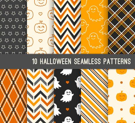 Ten Halloween different seamless patterns. Endless texture for wallpaper, web page background, wrapping paper and etc. Cute pumpkin and  smiling ghost, stripes, zigzag Standard-Bild - 105675217