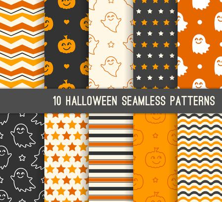Ten Halloween different seamless patterns. Endless texture for wallpaper, web page background, wrapping paper and etc. Smiling cute ghosts and pumpkins Standard-Bild - 114836585