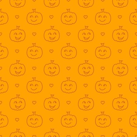 Halloween festive seamless pattern. Orange endless background with smiling cute pumpkin. Linear vector illustration Standard-Bild - 112321493