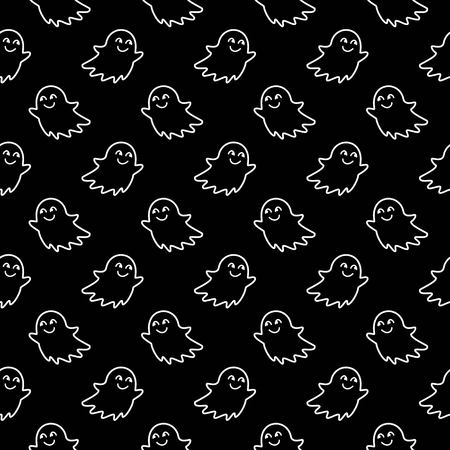 Halloween festive seamless pattern. Black endless background with smiling cute ghosts. Linear vector illustration Ilustração