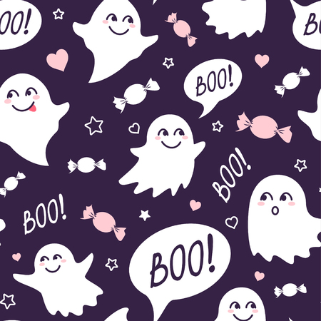 Halloween festive seamless pattern. Violet endless background with smiling cute ghosts, candies and speech bubble with boo Standard-Bild - 106754025