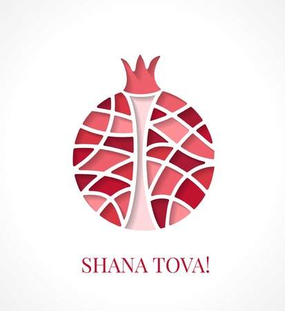 Design template with cut out multicolor pomegranate. Greeting card design for Jewish New Year, Rosh Hashanah. Vector illustration with stylized garnet