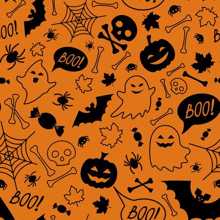 Halloween festive seamless pattern. Orange endless background with pumpkins, skulls, bats, spiders, ghosts, bones, candies, spider web and speech bubble with boo Standard-Bild - 109673835
