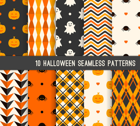 Ten Halloween different seamless patterns. Endless texture for wallpaper, web page background, wrapping paper and etc. Pumpkin and smiling ghost, spider, stripes, checkered template