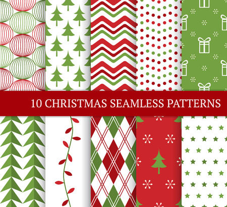 Ten Christmas different seamless patterns. Xmas endless texture for wallpaper, web page background, wrapping paper and etc. Retro style. Snowflakes, argyle, Christmas tree and garland. Standard-Bild - 109673838
