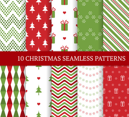 Ten Christmas different seamless patterns. Xmas endless texture for wallpaper, web page background, wrapping paper and etc. Retro style. Snowflakes, zigzag and Christmas tree. Ilustração