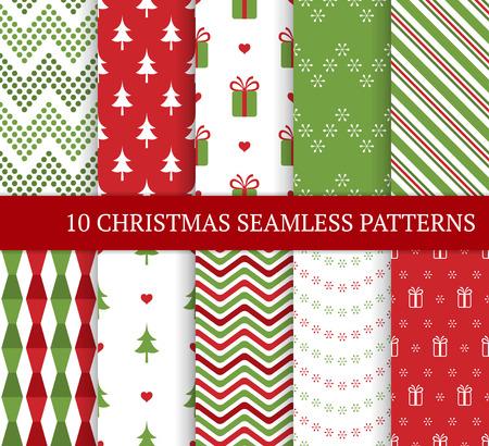 Tien verschillende naadloze patronen van Kerstmis. Xmas eindeloze textuur voor behang, webpagina-achtergrond, inpakpapier en etc. Retro stijl. Sneeuwvlokken, zigzag en kerstboom.
