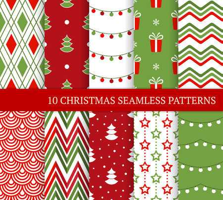 Ten Christmas different seamless patterns. Xmas endless texture for wallpaper, web page background, wrapping paper and etc. Retro style. Zigzag, gift, snowflake, argyle, Christmas lights and tree